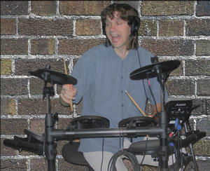 Me on the drums at a gig.